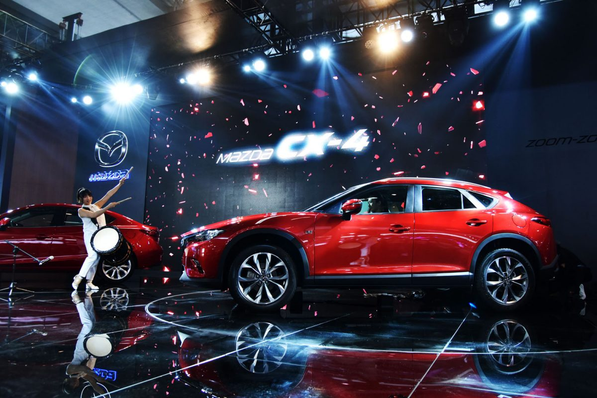 BEIJING, CHINA - APRIL 25: Mazda CX-4 is unveiled during the Mazda press conference of the Beijing Motor Show - Auto China on April 25, 2016 in Beijing, China. Mazda Motor Co unveiled the Mazda CX-4, the brand new SUV model in the motor show. (Photo by Xiaolu Chu/Getty Images for Mazda Motor Co)