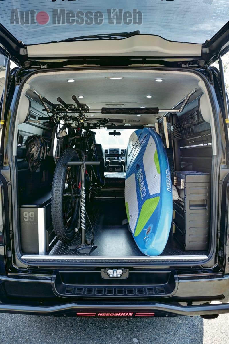 ハイエースアウトドアコンプリート、あげ系、SUP、自転車、釣り、トランスポーターバン