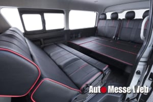 車中泊に最適! 新たな法規制に対応した10人乗りフルフラットベッドキット仕様
