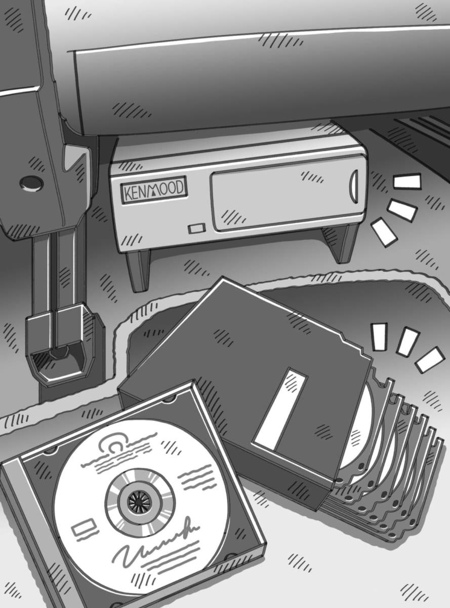 クリアテール、エアロミラー、ネオン管、置き型スピーカー、CDチャンジャー、懐かし、車、装備